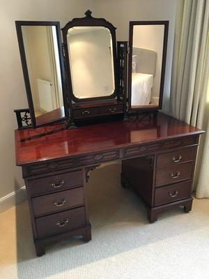 Antique Mahogany Dressing Table and Triple Wardrobe Set - Superb Condition