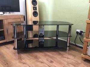Black and chrome 3 tier led lcd plasma tv stand