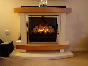 Electric Pebble Fire Suite, Surround and Matching Hearth