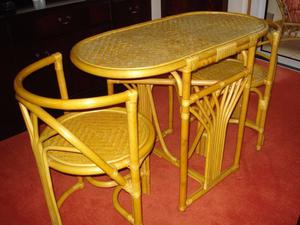 compact bamboo table with two chairs