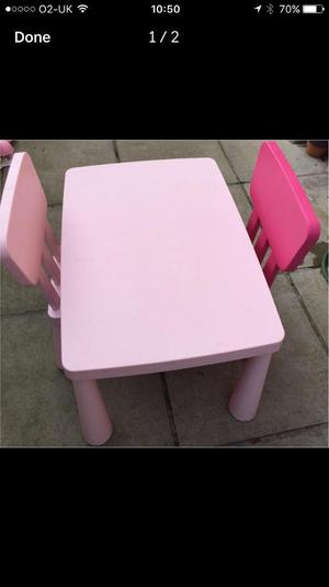Pink table and chairs
