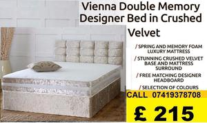 Designer Crush Velvet Double Bed With Super Orthopaedic Mattress (Other Mattress Variety Available)