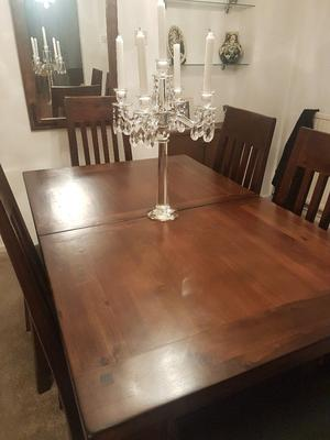 Extendable dining table, 6 chairs & sideboard. Perfect condition, solid wood from Housing Units
