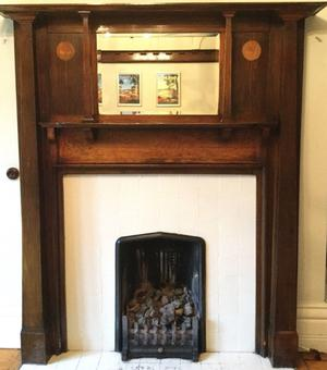 FIREPLACE SURROUND, ART NOUVEAU/ARTS& CRAFTS WITH LOVELY TULIP INLAY.GREAT FOR LOG BURNER SURROUND.