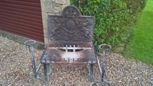 Old cast iron rear fire back & open basket