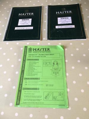 Hayter  Lawn tractor sweeper manual, parts, instruction