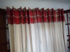 Lined eyelet curtains Two pairs 229cm drop 229 cm width.