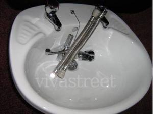 NEW. White Vanity Wash Basin + 4 Taps + 2 flexible pipe