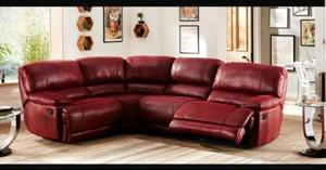 Sectional/corner sofa- dark red - in Excellent condition