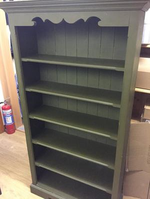 BOOKCASE SOLID PINE PAINTED DARK GREEN