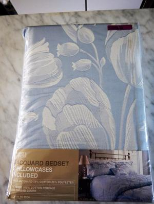 """NEW"" M&S Super King JACQUARD COTTON DUVET & PILLOWCASES"