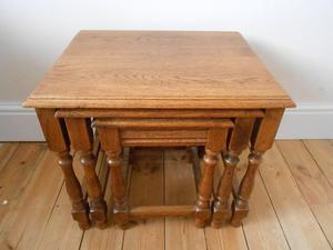 SOLID OAK NEST OF TABLES X 3