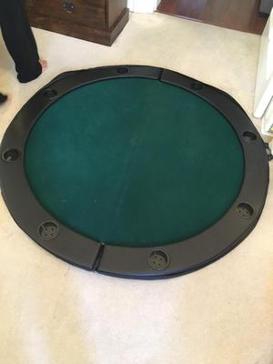 Round poker table foldable table top with green fast felt and drinks holder and poker chips