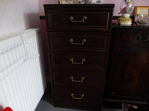 Set of 5 drawers, mahogany colour.