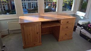 Pinetum tuscan double pedestal computer desk, waxed solid pine