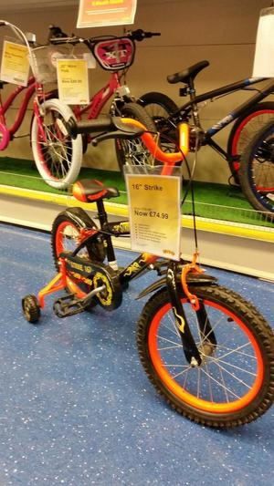 """Boys 16"""" bike with stabilisers can deliver"""
