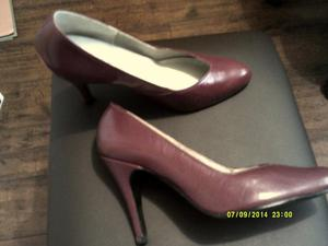 New Dark Red Leather Heels