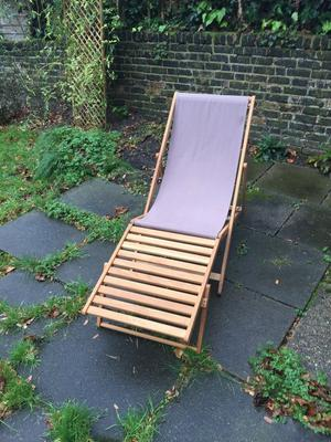 URGENT - PICK-UP TODAY - 4x Oak Deck Chairs + 4x Footstools + 4x Replacement Canvas