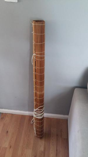 WOODEN ROLL-UP BLIND 122 CM WIDE x 160CM DROP. GOOD COND.