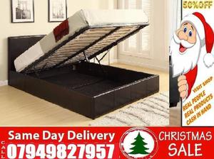 New Offer King Size Leather Ottoman Storage Bed Frame With Semi Orthopaedic Memory Foam Available