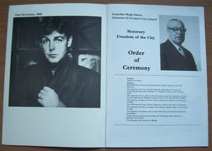 Paul McCartney Freedom of The City Liverpool Programme