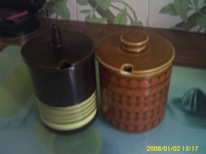 2 HORNSEA POTTERY JAM /HONEY POTS