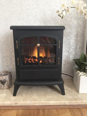 Fireplace- Log Burning Flame Effect Electric Stove Standing Fan Heater