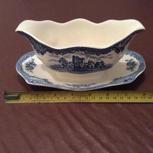 Antique Blue & White China Sauce/Gravey Boat