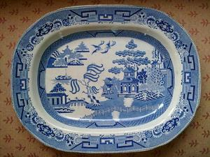 Blue and White willow pattern meat dish