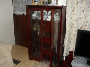 Mahogany colour Display Cabinet - Leaded Style twin doors