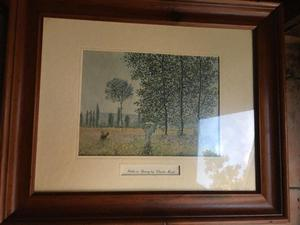 2 Claude Monet Pictures with Wooden frames