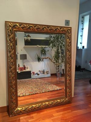 Large gold bevelled mirror