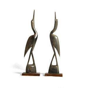A Pair of Vintage Cranes Carved from Animal Horn