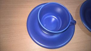 Cup and saucer set of 6, Blue, 9cm