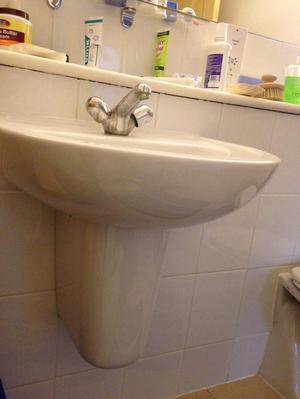 Bathroom sink, semi pedestal and tap, and waste water