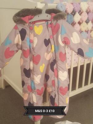 Baby girl snowsuit/pramsuit M&S 0-3