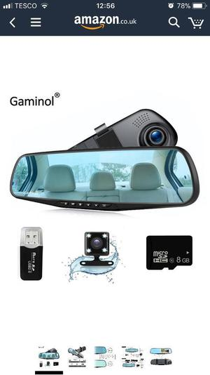Car dashcam with front & rear function