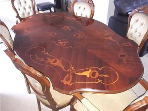 Antique Italian effect table and 6 chairs with matching