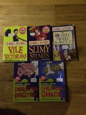 Set of 5 Horrible History and Science books