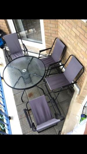 Garden Chairs with Round Table.