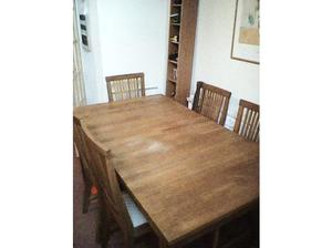Oak dining table with 6 chairs in Newport