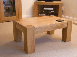 Trend Set Two Solid Chunky Oak Coffee Tables - Free Delivery In Southampton