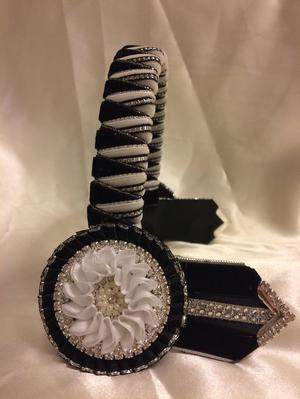 Black, white & silver pony sized velvet browband