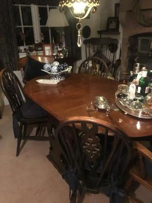 Fabulous oak drop leaf table with 4 chairs