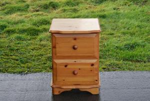 Solid Pine 2 Drawer Bedside Chest.