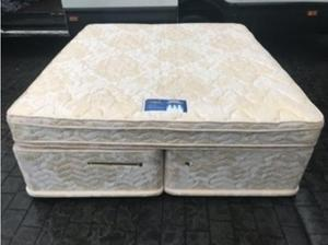 Super kingsize Sprung Divan Bed Base 4 Draws and Mattress in