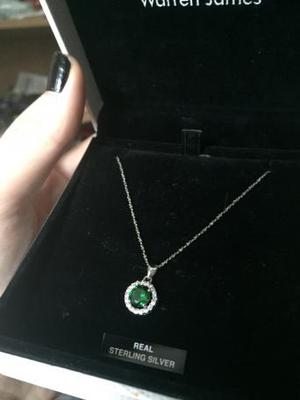 Warren James Emerald May Birthstone Necklace Sterling Silver