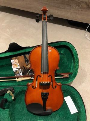 4/4 Violin with Guide book, FOM Violin Shoulder Rest, Tuner, Rubber and String steel core Ball