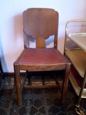 Antique Oak Dining Chairs - set of 4