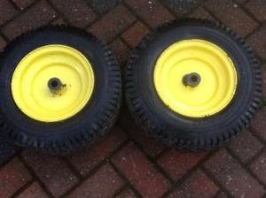 Ride on mower front wheels